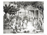Landu Dance, Engraved by Victor Adam and Monthellier Giclee Print by Johann Moritz Rugendas