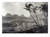 Port Louis from Views in the Mauritius by T.Bradshaw, Engraved by William Rider, 1831 Giclee Print by T. Bradshaw