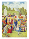 Queen Has Come! and Isn't She Angry, Illustration from Alice in Wonderland by Lewis Carroll Giclee Print by John Tenniel