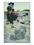 Pirate William Kidd Burying Treasure on Oak Island Giclee Print by Howard Pyle