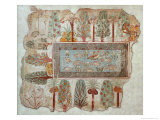 Garden of a Private Estate, Wall Painting, Tomb of Nebamun, Thebes, New Kingdom, c.1350 BC Reproduction procédé giclée par Egyptian 18th Dynasty