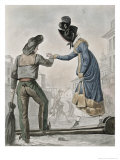 Woman Paying a Street Sweeper to Cross a Gangplank over a Dirty Street Giclee Print by Antoine Charles Horace Vernet