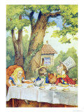 The Mad Hatter's Tea Party, Illustration from Alice in Wonderland by Lewis Carroll Giclee Print by John Tenniel