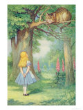 Alice and the Cheshire Cat, Illustration from Alice in Wonderland by Lewis Carroll Stampa giclée di Tenniel, John
