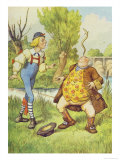 Father William Balancing an Eel on His Nose, Alice in Wonderland by Lewis Carroll Giclee Print by John Tenniel
