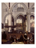The Interior of Oude Kerk, Amsterdam, c.1660 Giclee Print by Emanuel de Witte