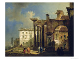 The Portico of the Church of San Lorenzo in Milan, c.1814 Giclee Print by Giovanni Migliara