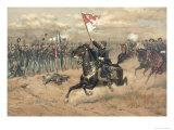 Sheridan&#39;s Famous Ride at the Battle of Cedar Creek Virginia in 1864 Giclee Print by Thure De Thulstrup