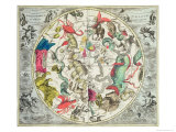 Map of the Southern Hemisphere, from The Celestial Atlas, or the Harmony of the Universe Giclee Print by Andreas Cellarius