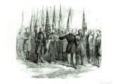 General Custer Presenting Captured Confederate Flags in Washington on October 23rd 1864 Reproduction proc&#233;d&#233; gicl&#233;e par Alfred Rudolf Waud