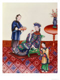 Elegant Chinese Lady Smelling a Flower Giclee Print