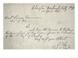 Robert E. Lee's Letter of Resignation from the Federal Army, 20th April, 1861 Giclee Print by Robert E. Lee
