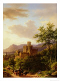Travellers on a Path in an Extensive Rhineland Landscape Giclee Print by Barend Cornelis Koekkoek