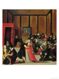 Scene Galante or the Five Senses Giclee Print by Louis de Caullery