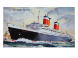 Ss United States Maiden Voyage in 1952 Giclee Print by  American School