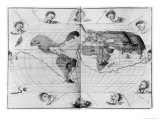 World Map Tracing Magellan's World Voyage, from the Portolan Atlas of the World, c.1540 Giclee Print by Battista Agnese