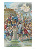 Constantine's Vision of the Cross, After the Fresco in the Sala Di Costantino, Raphael Rooms Giclee Print by Giulio Romano