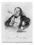 Series Galerie Physionomique, a True Smoker, 1836 Giclee Print by Honore Daumier