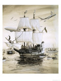 Alan Villiers Recreates the Mayflower of the Pilgrim Fathers and Sails Across the Atlantic Giclee Print