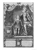 Queen Marie de Medicis and Louis XIII as a Child, Engraved by Nicolas de Mathoniere Giclee Print by Francois Quesnel
