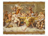 The Banquet of the Gods, Ceiling Painting of the Courtship and Marriage of Cupid and Psyche Reproduction procédé giclée par  Raphael