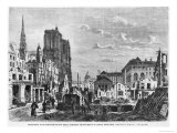 Paris, Demolition of a Part of Cite to Extend the Buildings of New Hotel-Dieu, Engraved Barbant Giclee Print by Felix Thorigny
