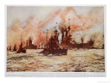 Battle of Dogger Bank, Damaged Battle Cruiser, Lion, c.1920 Giclee Print by Charles Edward Dixon