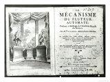 Automatons, Le Mecanisme du Fluteur Automate by Jacques de Vaucanson, Engraved Vivares Giclee Print by Hubert Gravelot