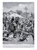 Bear Baiting in Saxon Times, Illustration from Hutchinsons Story of the British Nation, c.1920 Giclee Print by Richard Caton Woodville