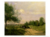 The Wagon, Souvenir of Saintry, 1874 Giclee Print by Jean-Baptiste-Camille Corot