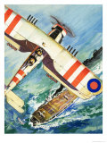 Unidentified Bi-Plane Flying over an Aircraft Carrier Giclee Print