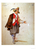 Costume Design For the Role of Pierrot in an 1847 Production of Don Juan by Moliere Giclee Print by Achille Deveria