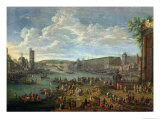 View of the Louvre and the Tour de Nesles from the Ile de La Cite, c.1673-74 Giclee Print by Pieter II Casteels