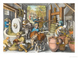 The Production of Olive Oil, Plate 13 from Nova Reperta Giclee Print by Jan van der Straet