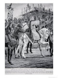 Edward the Confessor Watching the Building of Westminster Abbey, The History of the Nation Giclee Print by Richard Caton Woodville