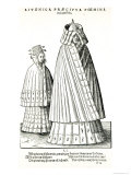 Costumes of a Livonian Noblewoman and Her Daughter, 1577 Giclee Print by Hans Weigel