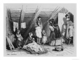 Visiting the Poor, Illustration from Le Magasin Pittoresque, Paris, 1844 Reproduction procédé giclée par Karl Girardet