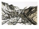Navvies Cutting a Railway Line at Sonning Hill Giclee Print by Harry Green