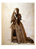 Costume Design For the Role of Dona Elvire in an 1847 Production of Don Juan by Moliere Giclee Print by Achille Deveria