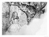 Alice in Wonderland Meets the Cheshire Cat Giclee Print by Ken Petts
