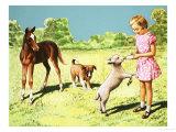 Girl Feeding Lamb Giclee Print by R. B. Davis