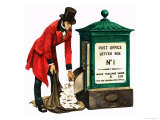 Communication One Hundred Years Ago. a Victorian Postman and Post Box Giclee Print by Peter Jackson