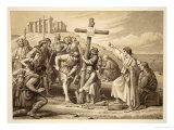 The First Preaching of Christianity in Britain, Engraved by John Easton Giclee Print by Charles West Cope