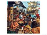 Pirates Raising the Skull and Crossbones Giclee Print