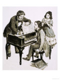 Music Teacher Friedrich Wieck Shouts at Robert Schumann While His Daughter, Clara Wieck, Looks On, Giclee Print