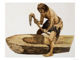Stone Age Man Digging Out a Canoe Giclee Print by Peter Jackson