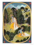 Radha and Krishna Walking in a Grove, Kangra, Himachal Pradesh, 1820-25 Lámina giclée