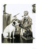 Artist Painting the Dog Listening at a Gramaphone Giclee Print by Peter Jackson