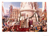 Edward VII and Queen Alexandra Outside Buckingham Palace Giclee Print by Fortunino Matania