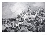 The Battle of Mons Badonicus, c.500 Ad, Illustration from The History of the Nation Giclee Print by Dudley C. Tennant